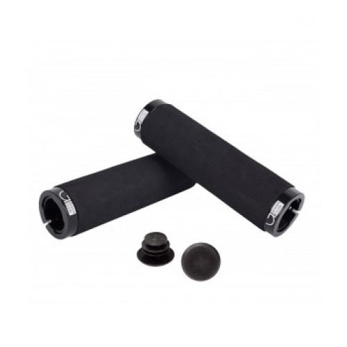 Грипсы Green Cycle GC-G222 130mm вспененная резина, черные с двумя черными замками