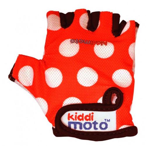 Перчатки детские красные в белый горошек, размер М на возраст 4-7 лет