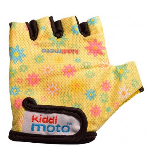 Перчатки детские жёлтые с цветами, размер S на возраст 4-7 лет