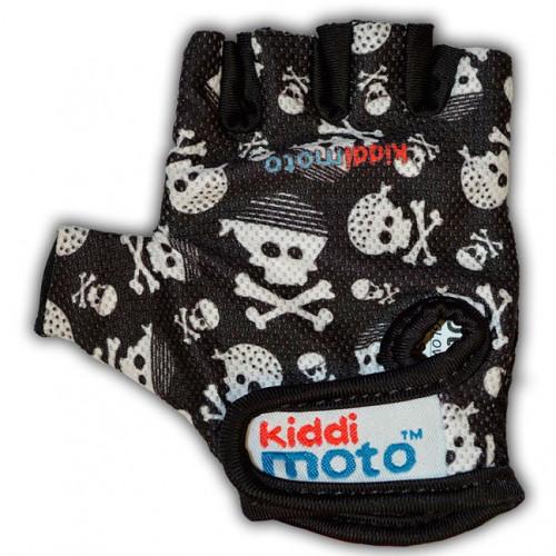 Перчатки детские чёрные с черепами, размер M на возраст 4-7 лет