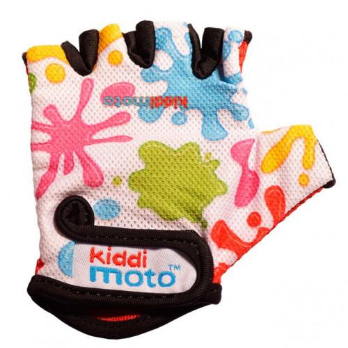 Перчатки детские цветные кляксы, белые, размер M на возраст 4-7 лет