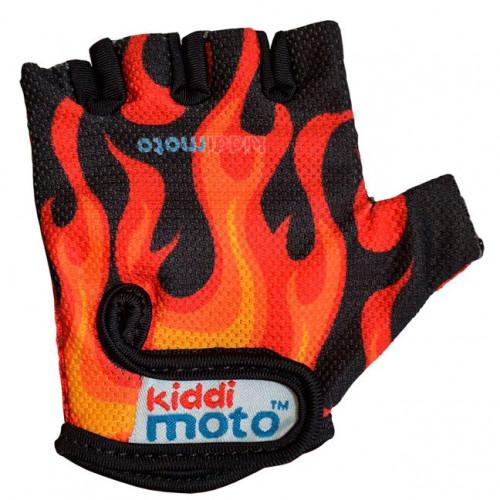 Перчатки детские чёрные с языками пламени, размер М на возраст 2-4 года