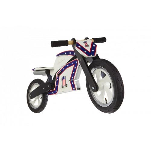 """Беговел 12"""" Kiddi Moto Heroes деревянный, с автографом Evel Knievel"""